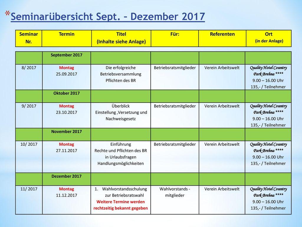 Seminarübersicht Sept. – Dezember 2017