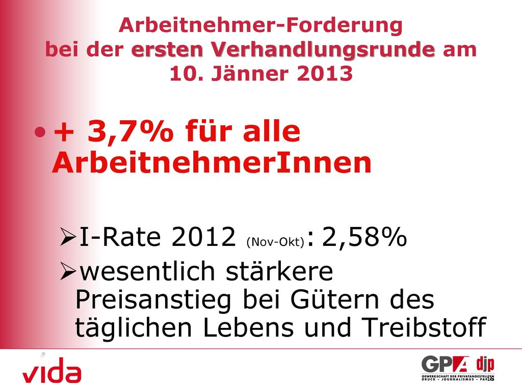 + 3,7% für alle ArbeitnehmerInnen
