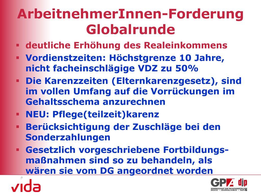 ArbeitnehmerInnen-Forderung Globalrunde