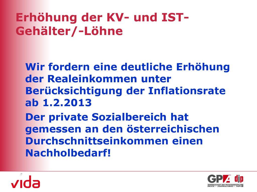 Erhöhung der KV- und IST- Gehälter/-Löhne