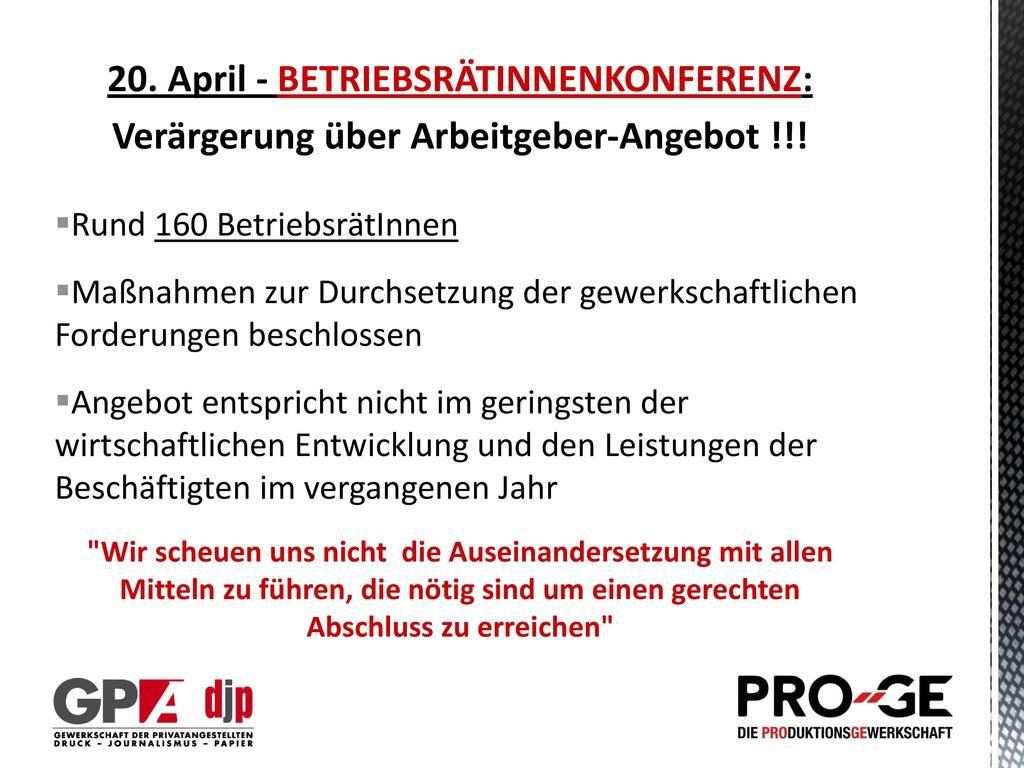 20. April - BETRIEBSRÄTINNENKONFERENZ: