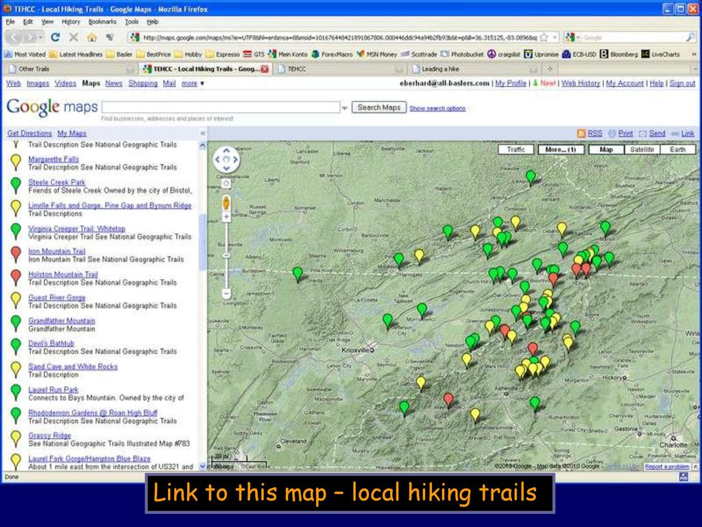 Link to this map – local hiking trails