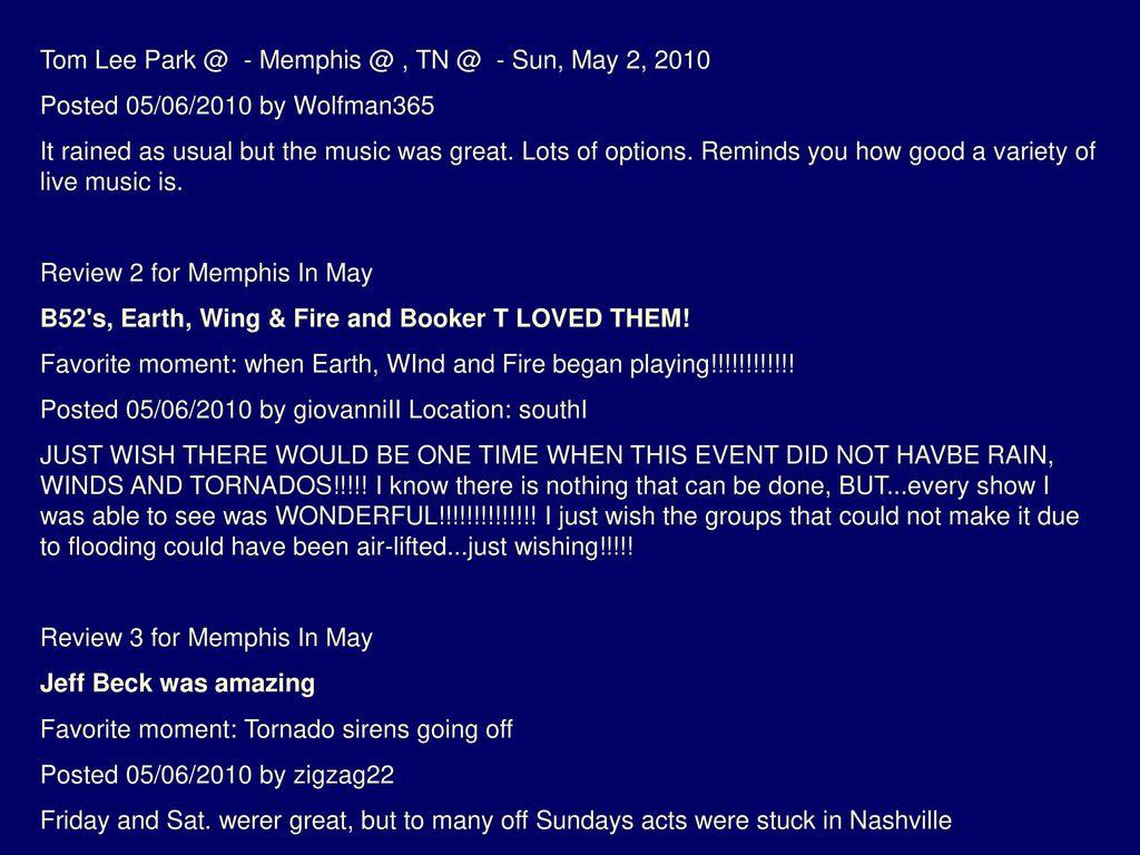 Tom Lee Park @ - Memphis @ , TN @ - Sun, May 2, 2010