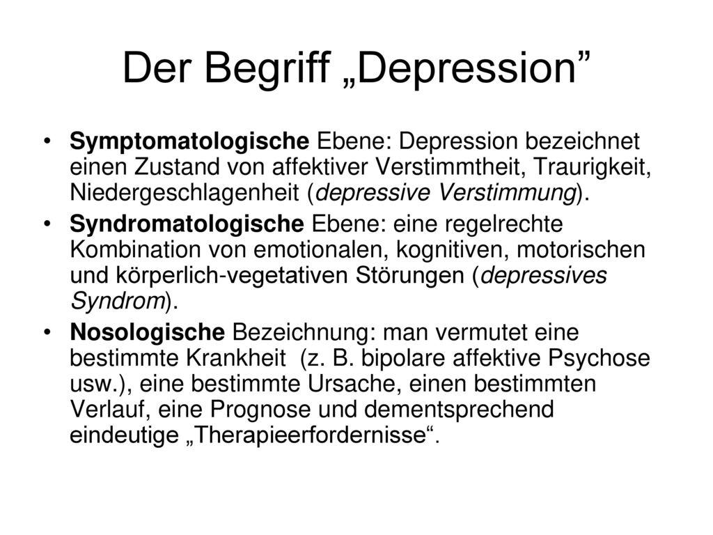 """Der Begriff """"Depression"""