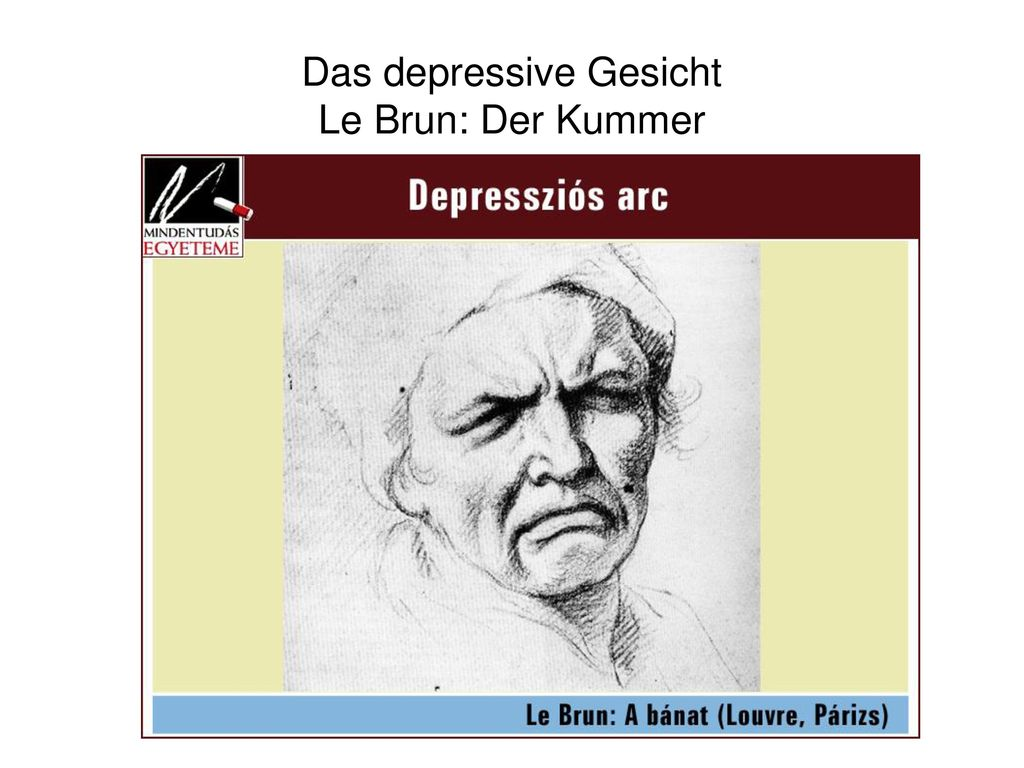 Das depressive Gesicht Le Brun: Der Kummer