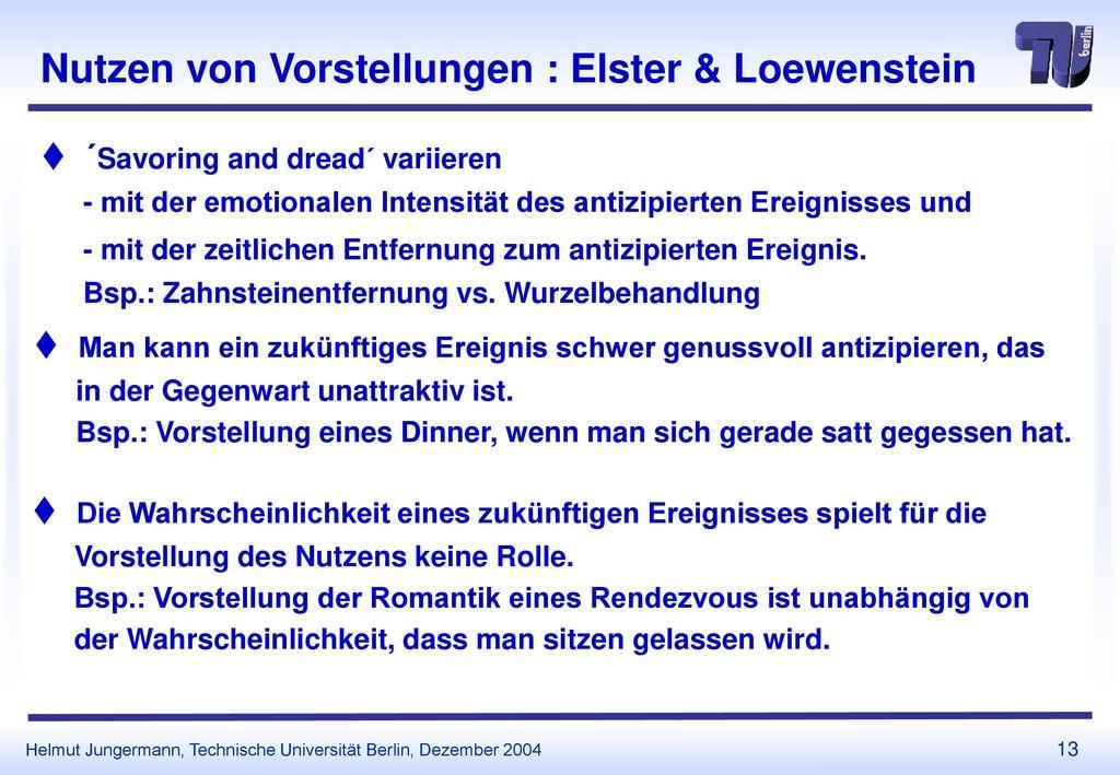 Nutzen von Vorstellungen : Elster & Loewenstein