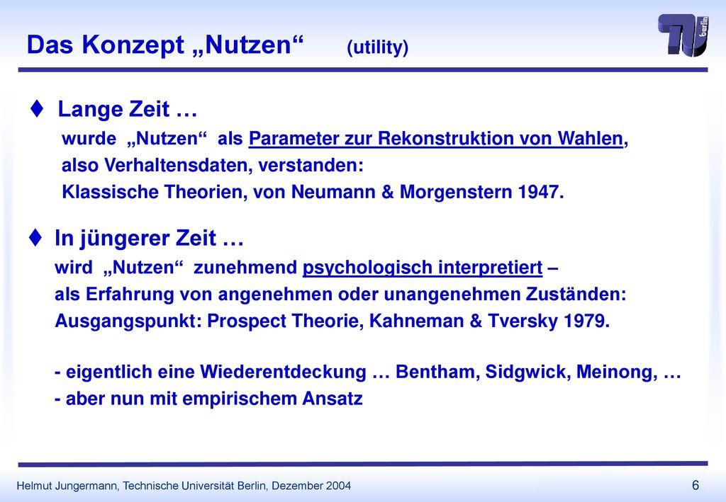 """Das Konzept """"Nutzen (utility)"""