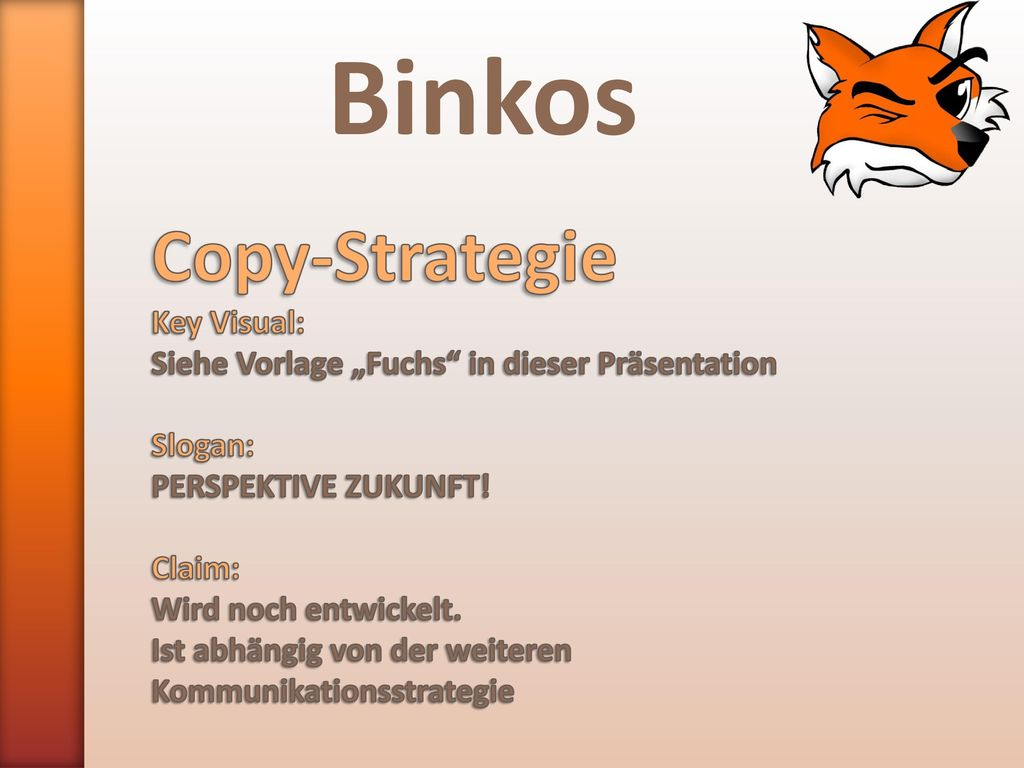 Binkos Copy-Strategie Key Visual: