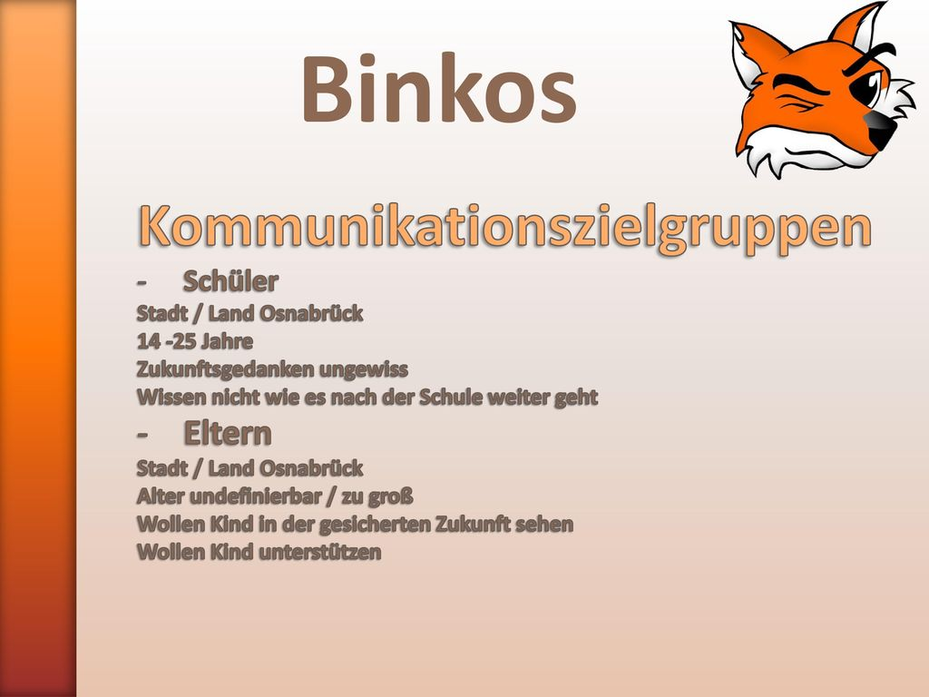 Binkos Kommunikationszielgruppen Eltern Schüler Stadt / Land Osnabrück