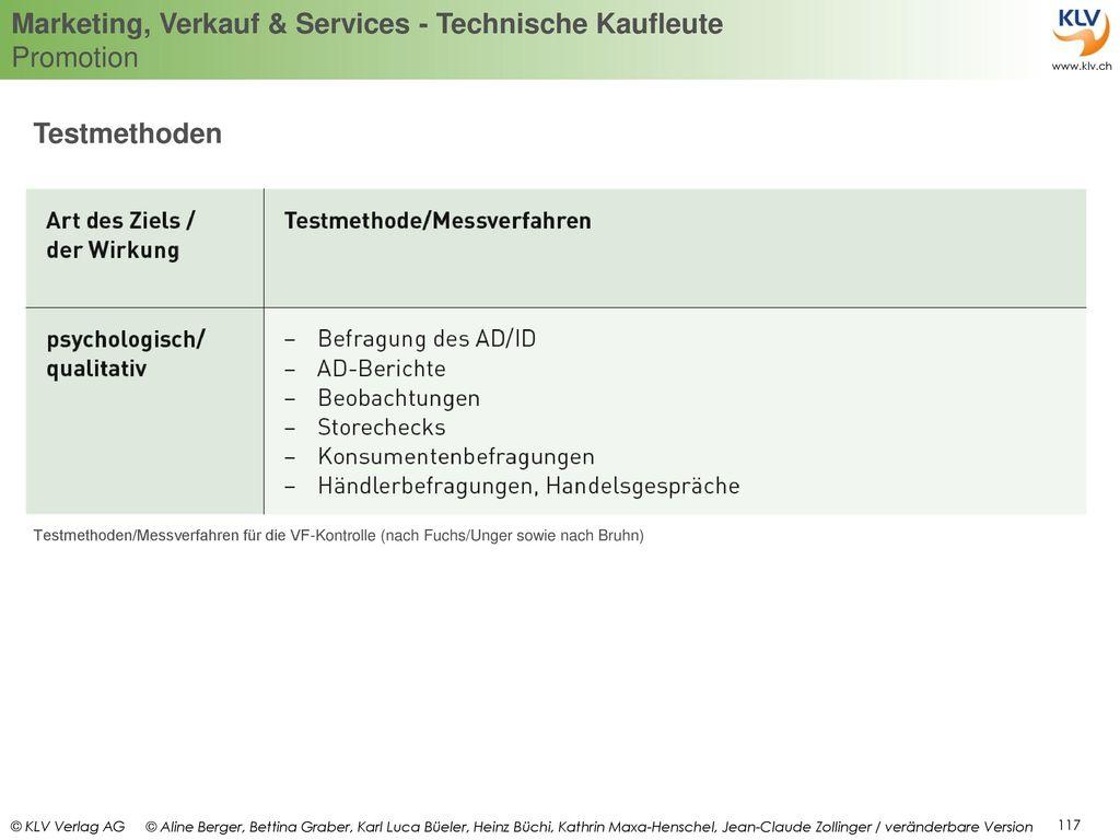 Testmethoden Testmethoden/Messverfahren für die VF-Kontrolle (nach Fuchs/Unger sowie nach Bruhn)