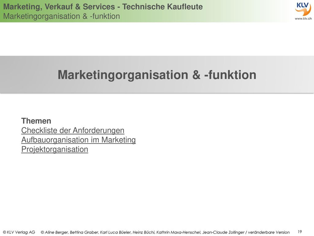 Marketingorganisation & -funktion