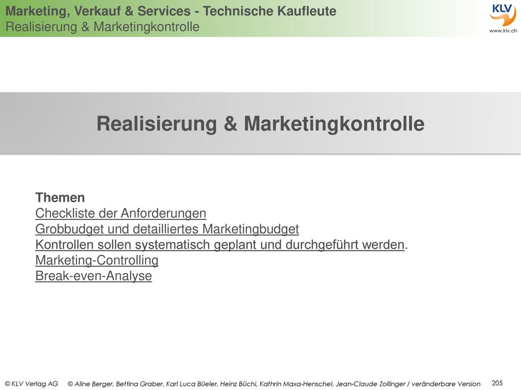 Realisierung & Marketingkontrolle