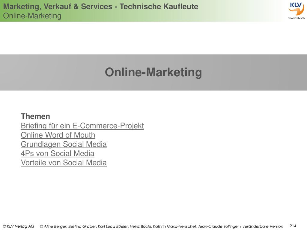 Online-Marketing Themen Briefing für ein E-Commerce-Projekt