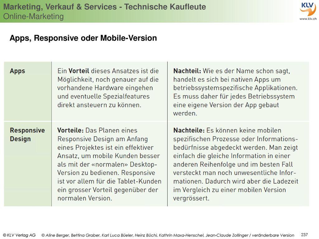 Apps, Responsive oder Mobile-Version