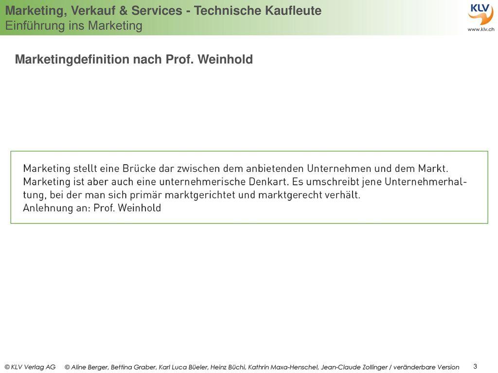 Marketingdefinition nach Prof. Weinhold