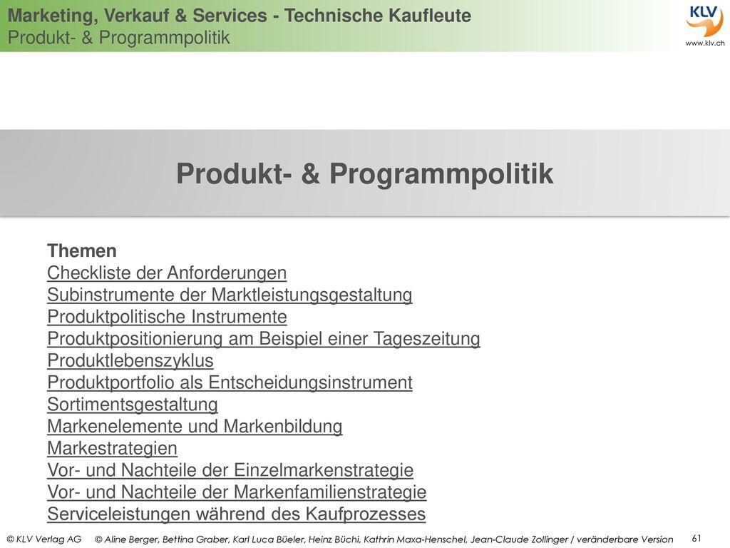 Produkt- & Programmpolitik