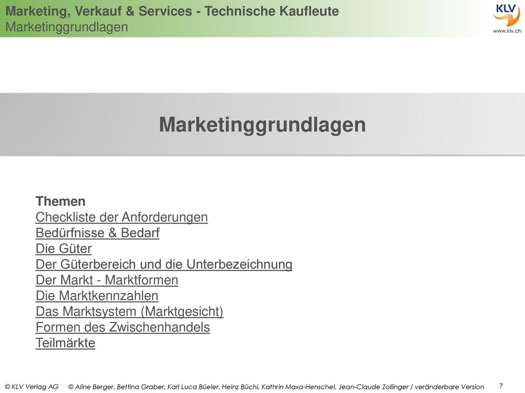 Marketinggrundlagen Themen Checkliste der Anforderungen