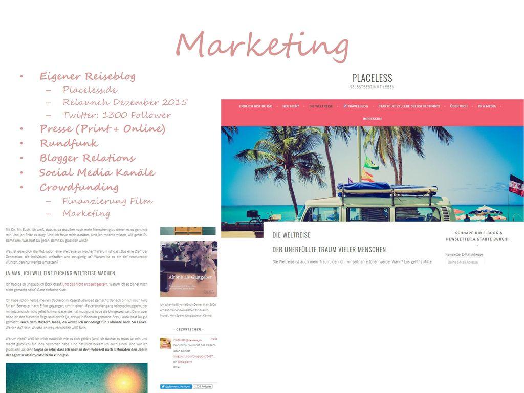 Marketing Eigener Reiseblog Presse (Print + Online) Rundfunk