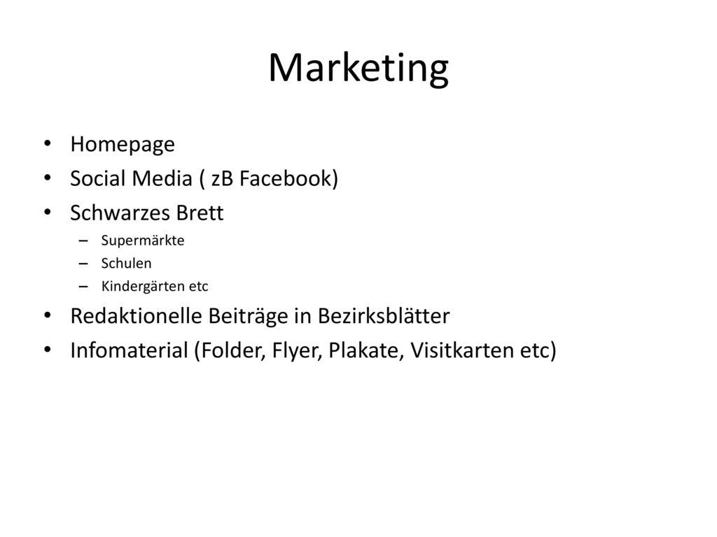 Marketing Homepage Social Media ( zB Facebook) Schwarzes Brett