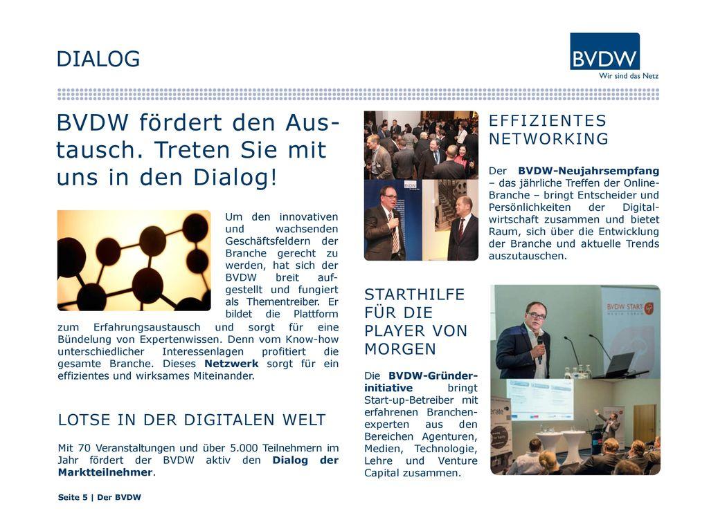 BVDW fördert den Aus-tausch. Treten Sie mit uns in den Dialog!