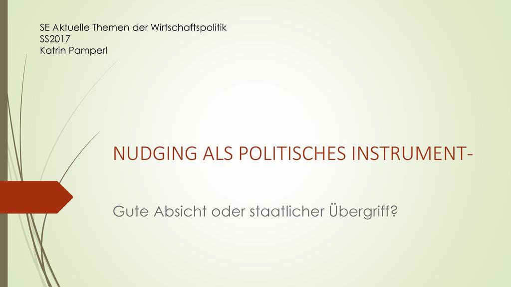 NUDGING ALS POLITISCHES INSTRUMENT-