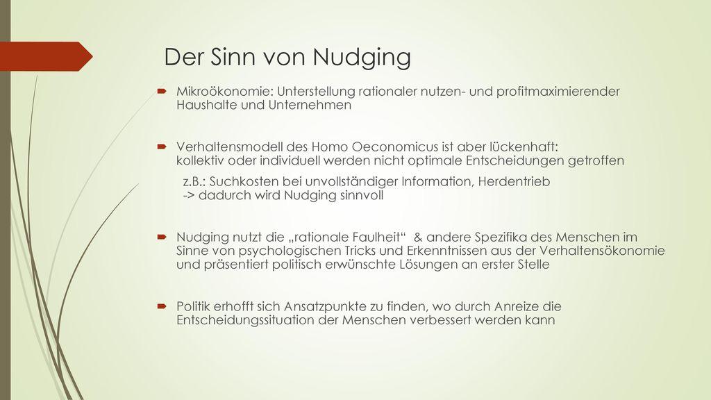 Der Sinn von Nudging Mikroökonomie: Unterstellung rationaler nutzen- und profitmaximierender Haushalte und Unternehmen.