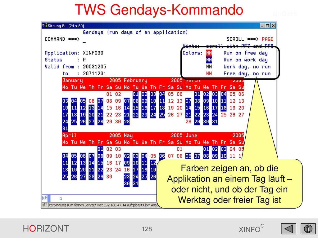 TWS Gendays-Kommando anders.