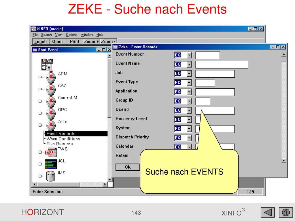 ZEKE - Suche nach Events