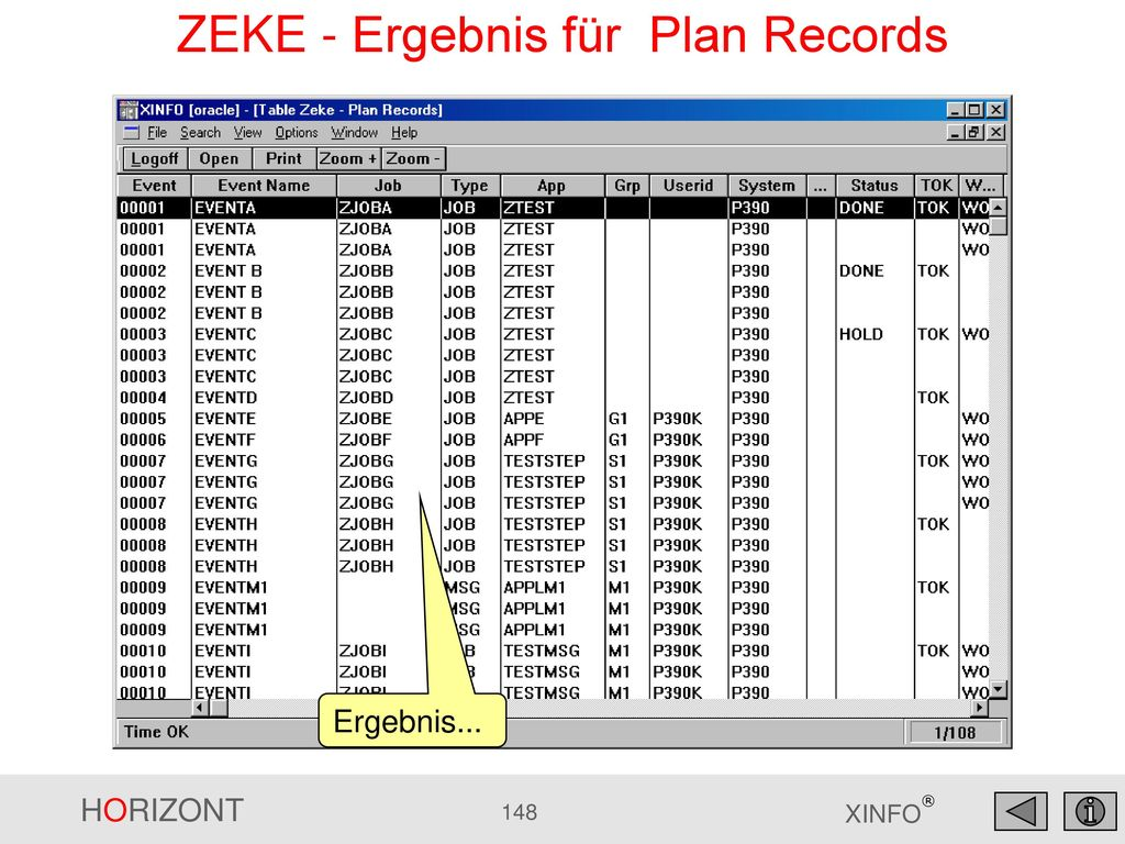 ZEKE - Ergebnis für Plan Records