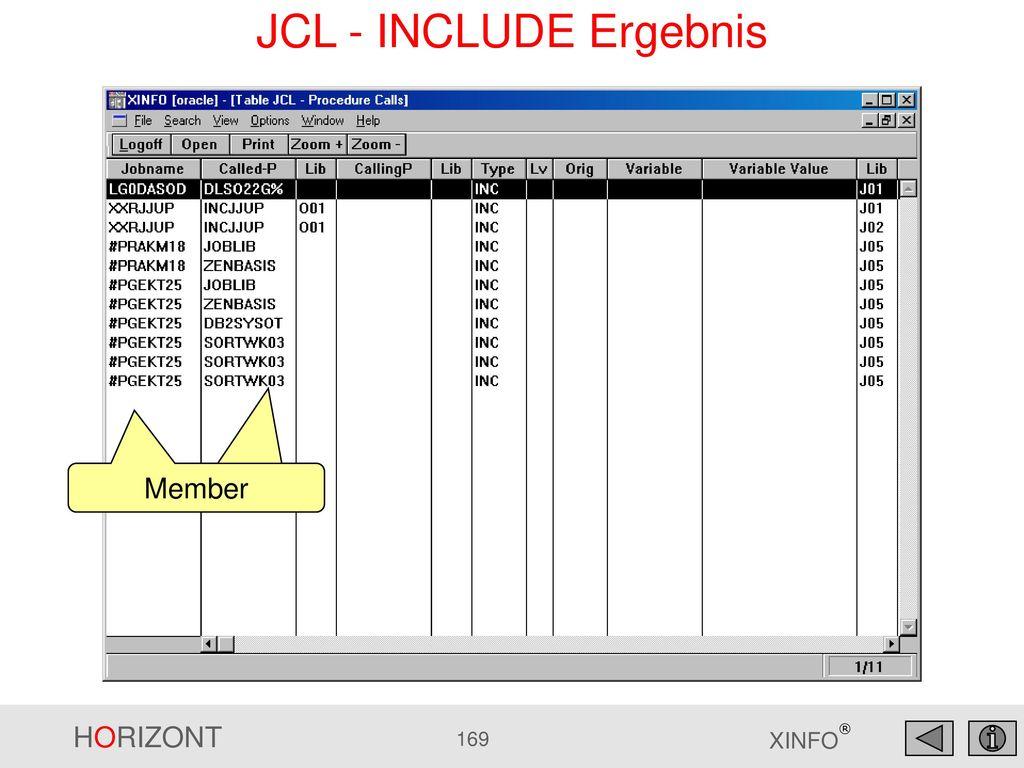 JCL - INCLUDE Ergebnis Member