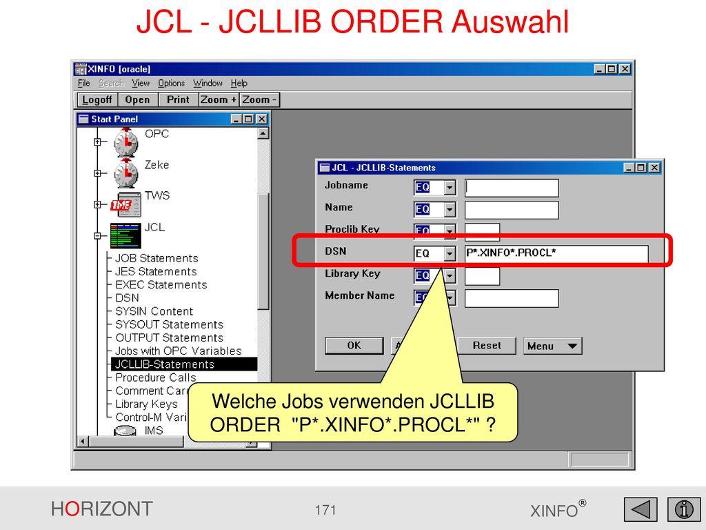 JCL - JCLLIB ORDER Auswahl