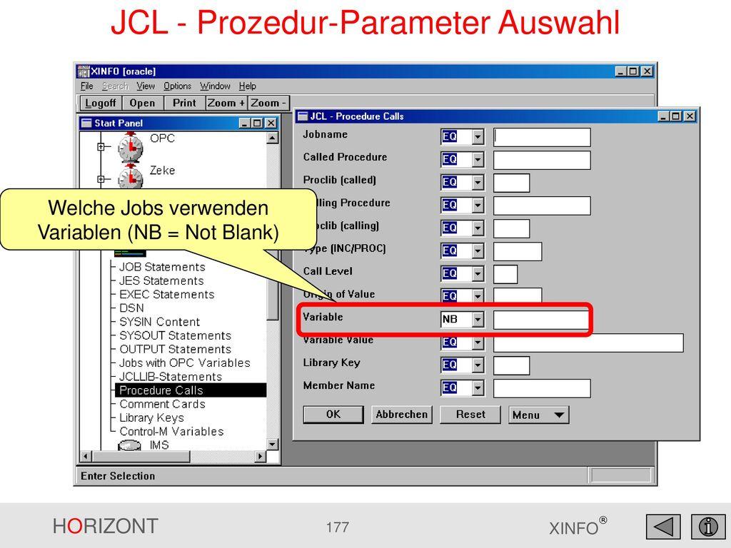 JCL - Prozedur-Parameter Auswahl