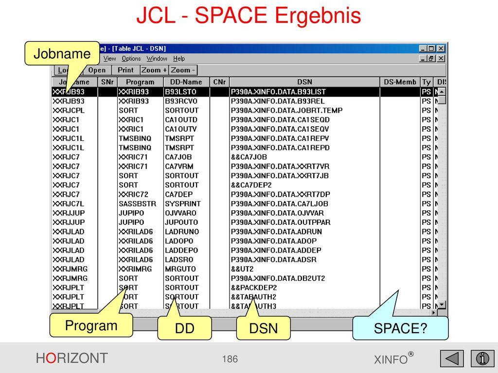 JCL - SPACE Ergebnis Jobname Program DD DSN SPACE