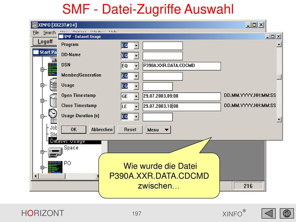 SMF - Datei-Zugriffe Auswahl