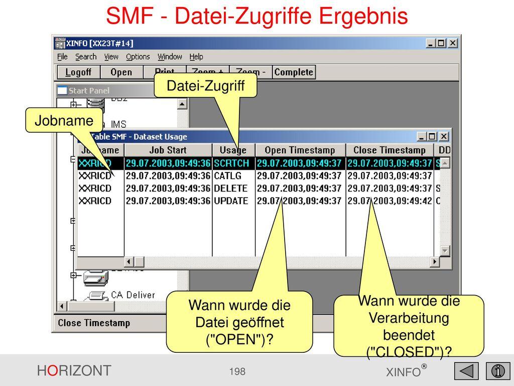 SMF - Datei-Zugriffe Ergebnis