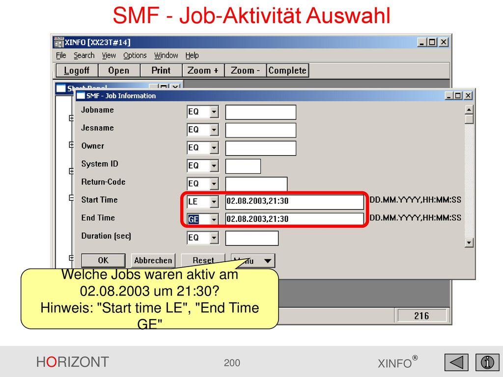 SMF - Job-Aktivität Auswahl