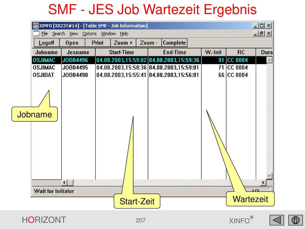 SMF - JES Job Wartezeit Ergebnis