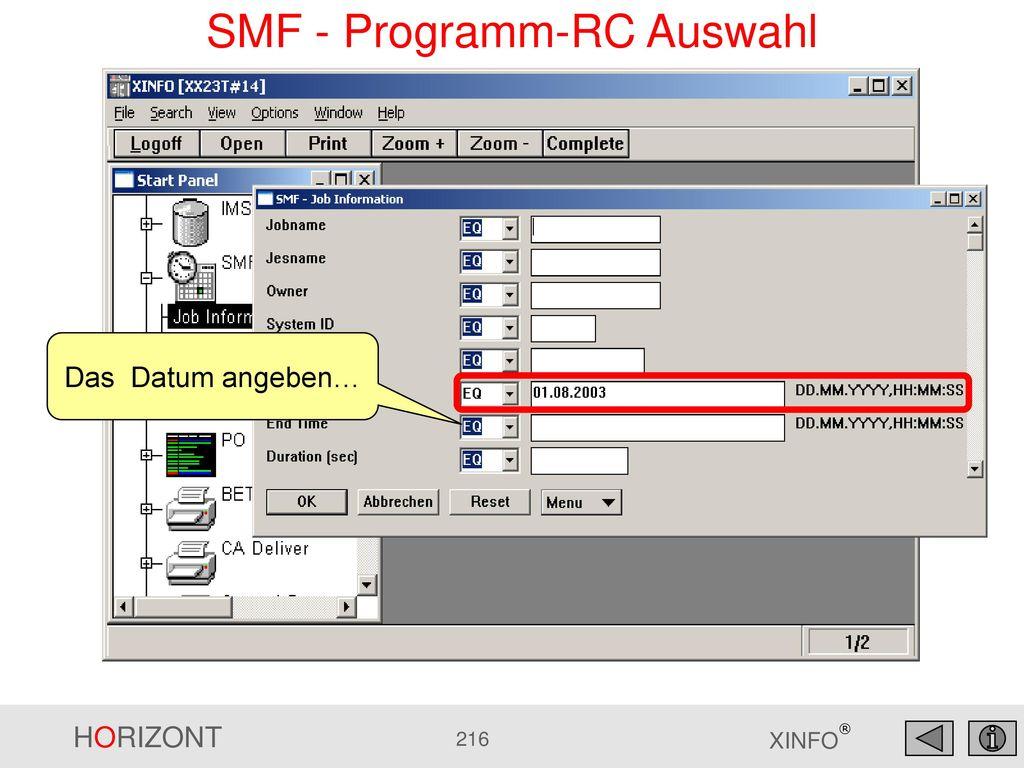 SMF - Programm-RC Auswahl