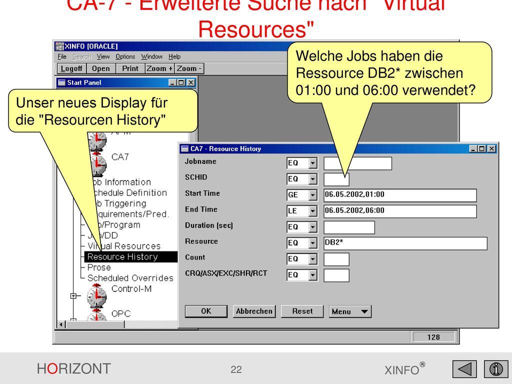CA-7 - Erweiterte Suche nach Virtual Resources