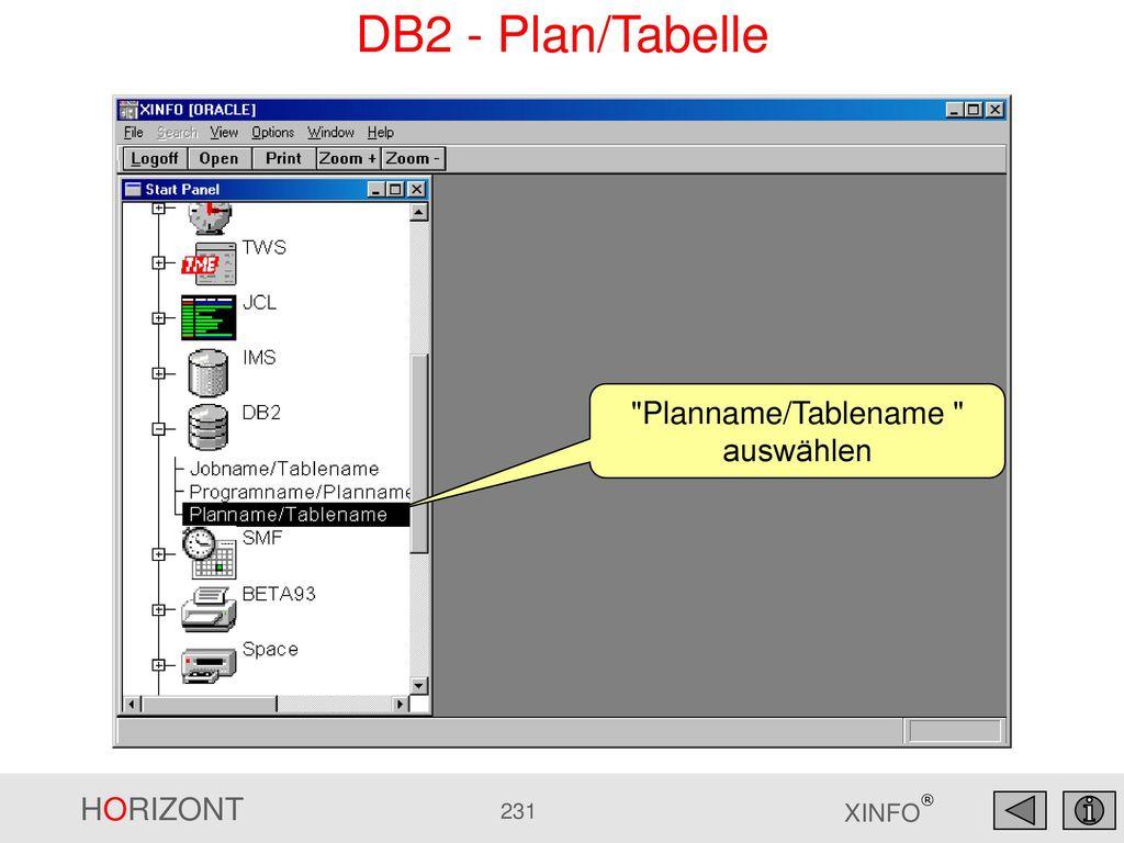 Planname/Tablename auswählen