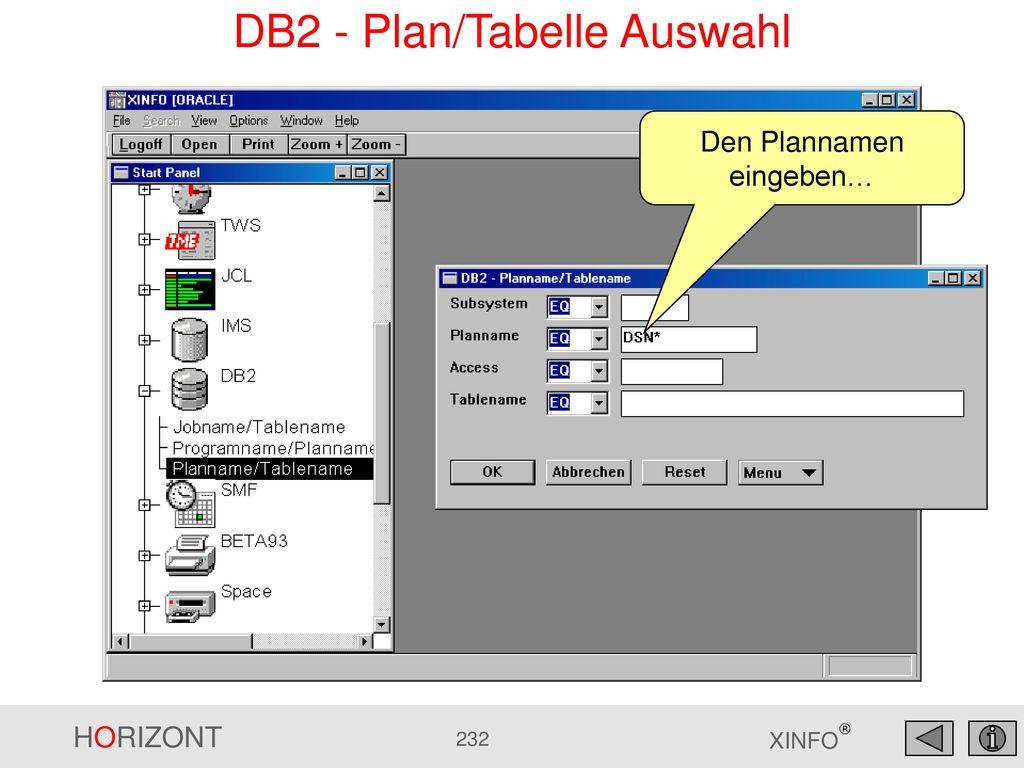 DB2 - Plan/Tabelle Auswahl