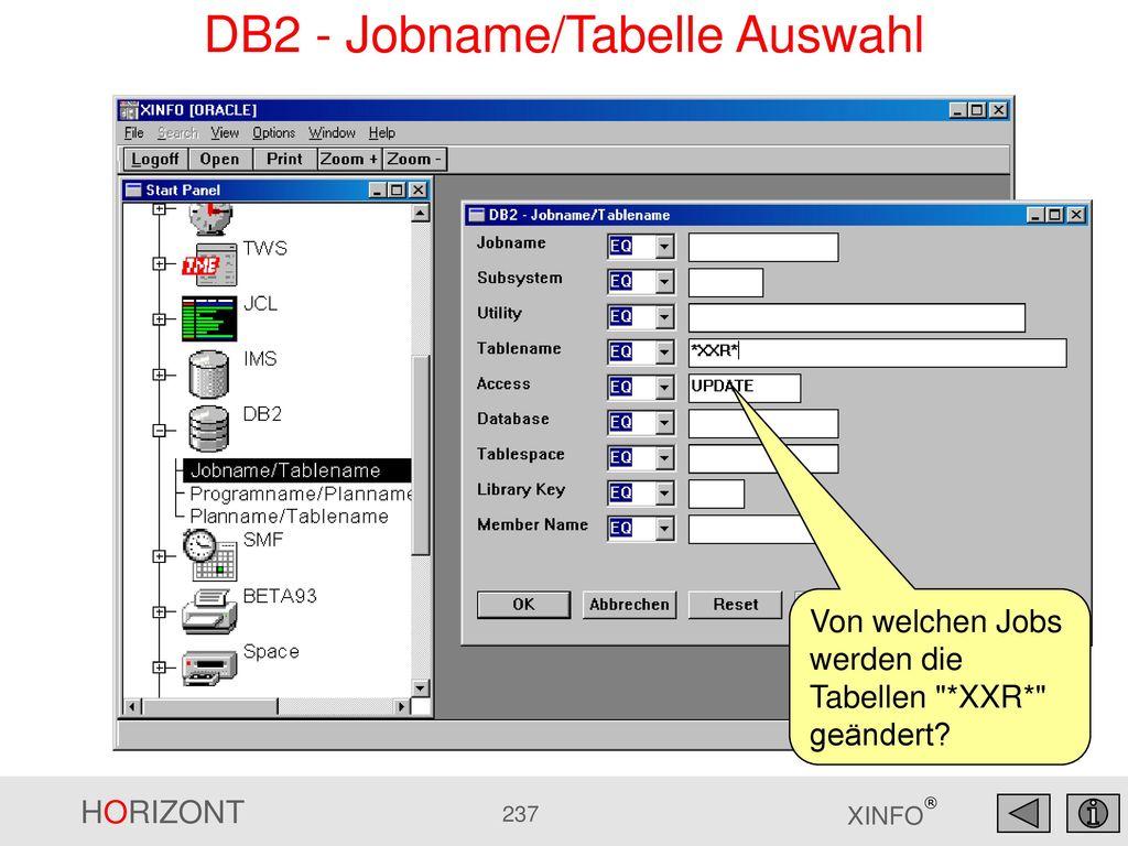 DB2 - Jobname/Tabelle Auswahl