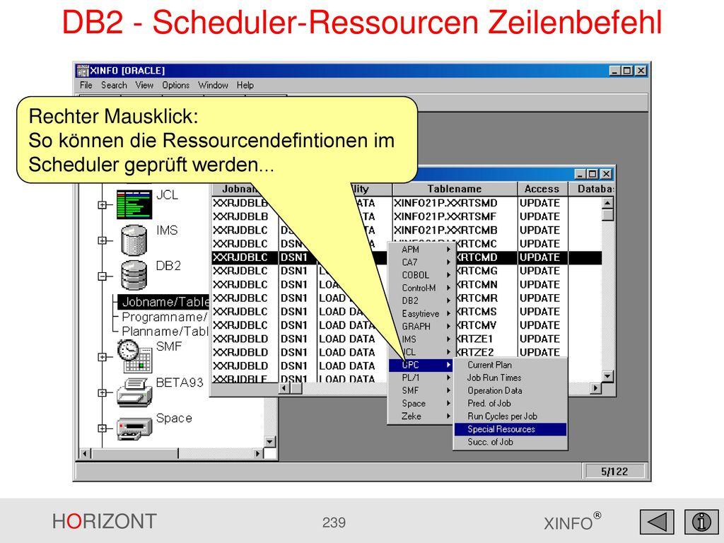 DB2 - Scheduler-Ressourcen Zeilenbefehl