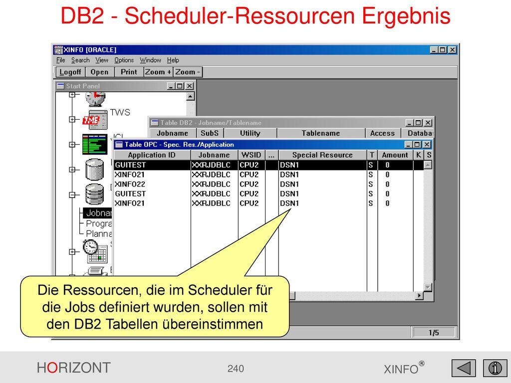 DB2 - Scheduler-Ressourcen Ergebnis