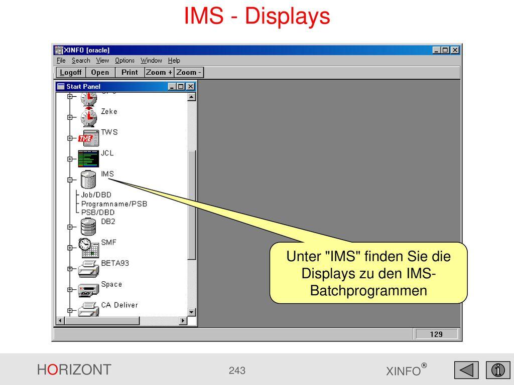 Unter IMS finden Sie die Displays zu den IMS-Batchprogrammen