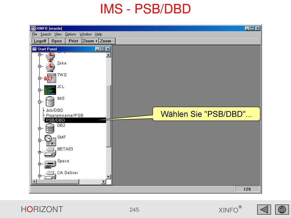 IMS - PSB/DBD Wählen Sie PSB/DBD ...