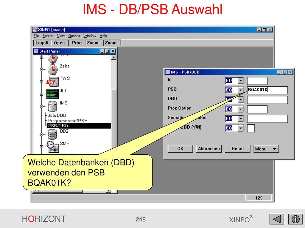 IMS - DB/PSB Auswahl Welche Datenbanken (DBD) verwenden den PSB BQAK01K