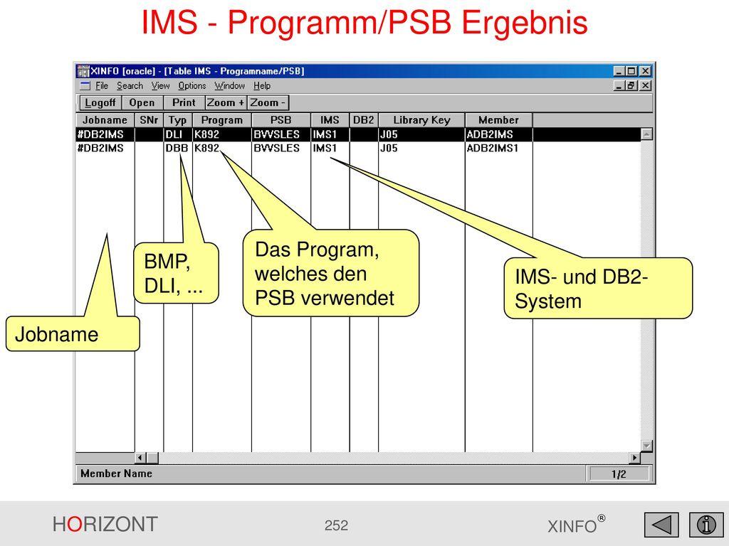 IMS - Programm/PSB Ergebnis