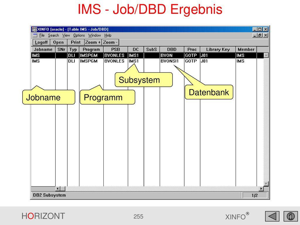 IMS - Job/DBD Ergebnis Subsystem Datenbank Jobname Programm