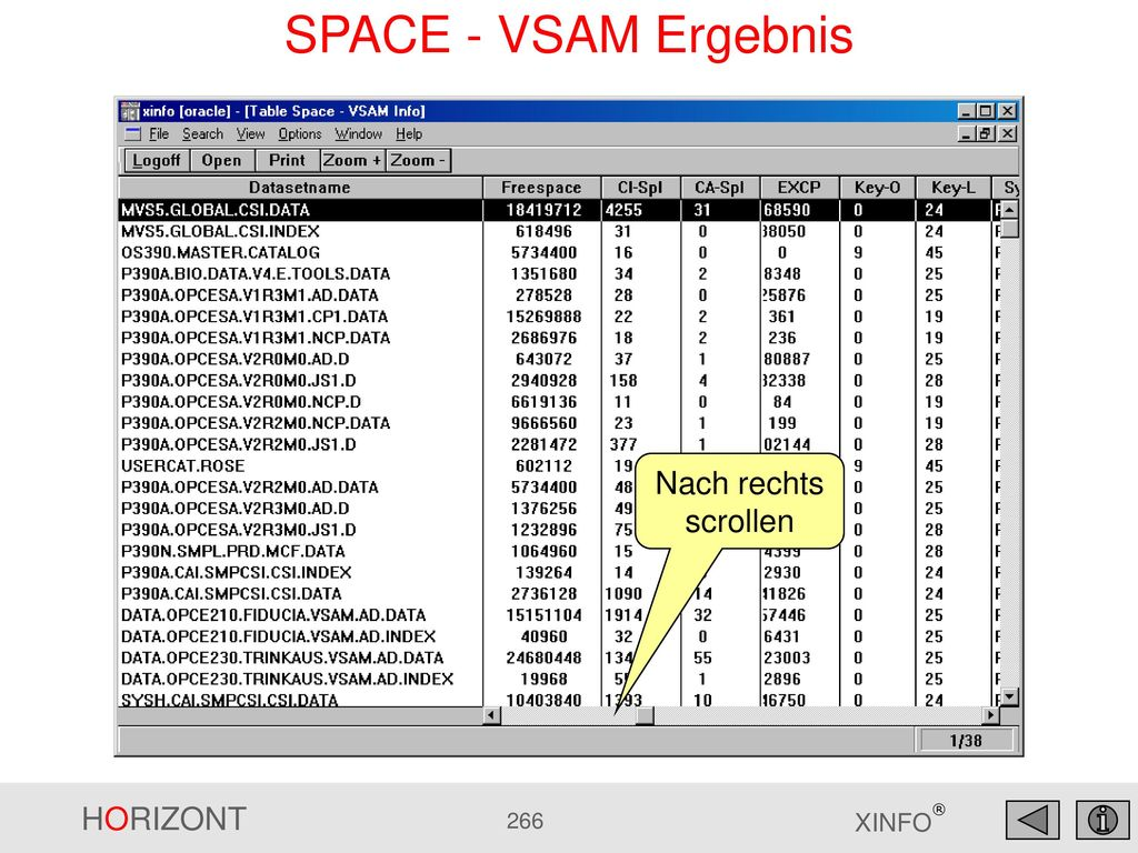 SPACE - VSAM Ergebnis Nach rechts scrollen